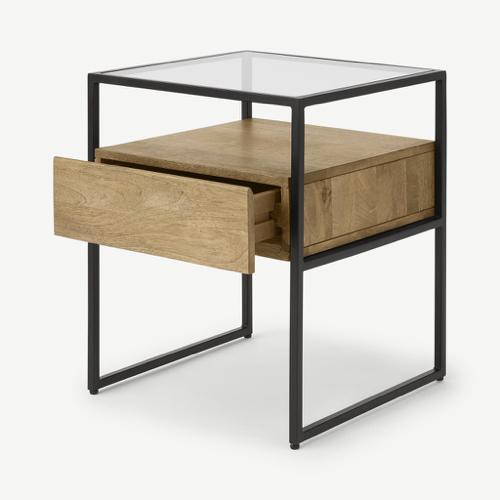 ou trouver accessoire deco minimaliste chambre table de nuit bois et métal style épuré