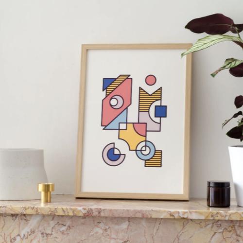 ou trouver affiche vintage annees 50 dessins géométriques format A3
