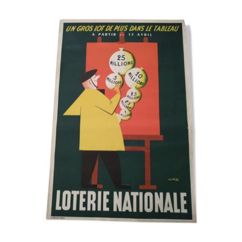 ou trouver affiche vintage annees 50 publicite ancienne loterie