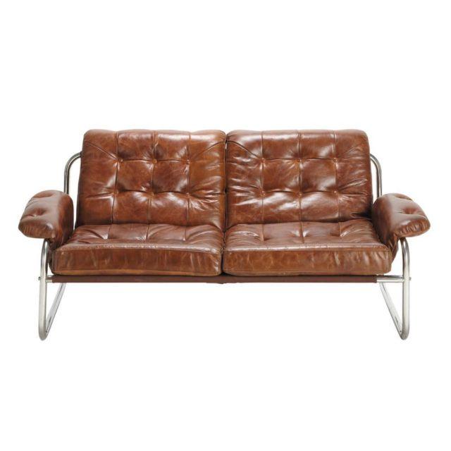 ou trouver canape cuir banquette vintage sofa téro armature métal accoudoir léger décoration salon séjour