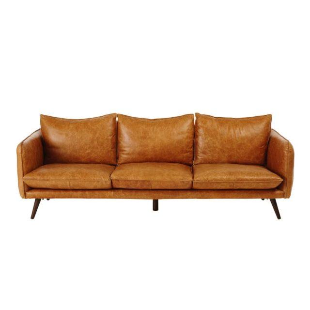 ou trouver canape cuir camel tendance classique grand format famille coussin