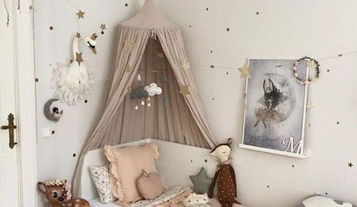 ou trouver ciel de lit chambre enfant petite fille garçon mixte couleur neutre rose bleu ocre terracotta beige chambre moderne et tendance