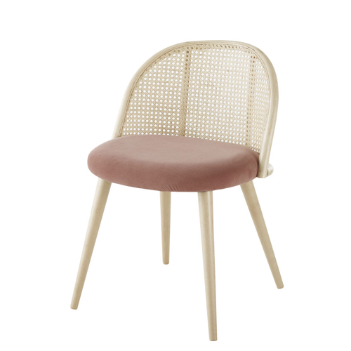 ou trouver deco rose salle a manger chaise cannage velours moderne