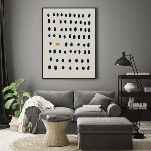 ou trouver decoration murale mid century poster grand format noir blanc jaune abstrait