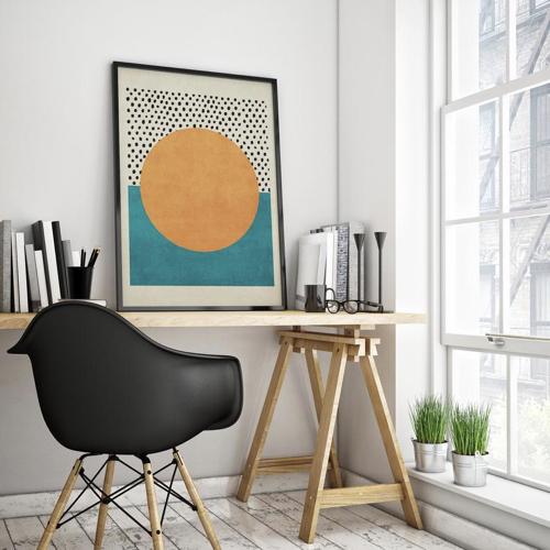 ou trouver decoration murale mid century illustration bleu jaune noir blanc