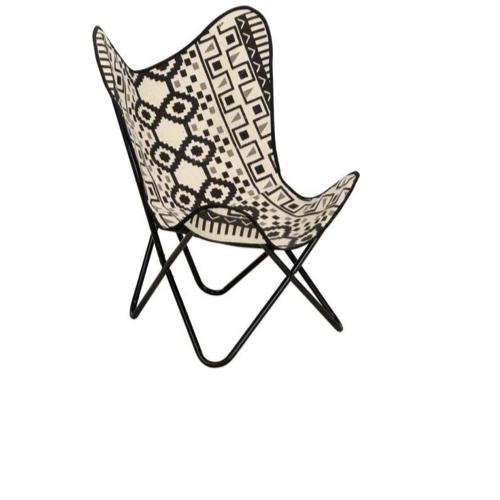 ou trouver fauteuil papillon pas cher imprimé ethnique bohème noir et blanc