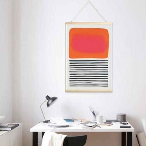 ou trouver poster deco mid century abstrait orange noir et blanc