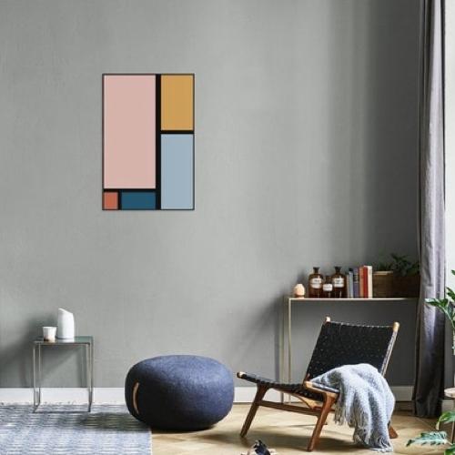 ou trouver poster deco mid century inspiration mondrian couleur pastel