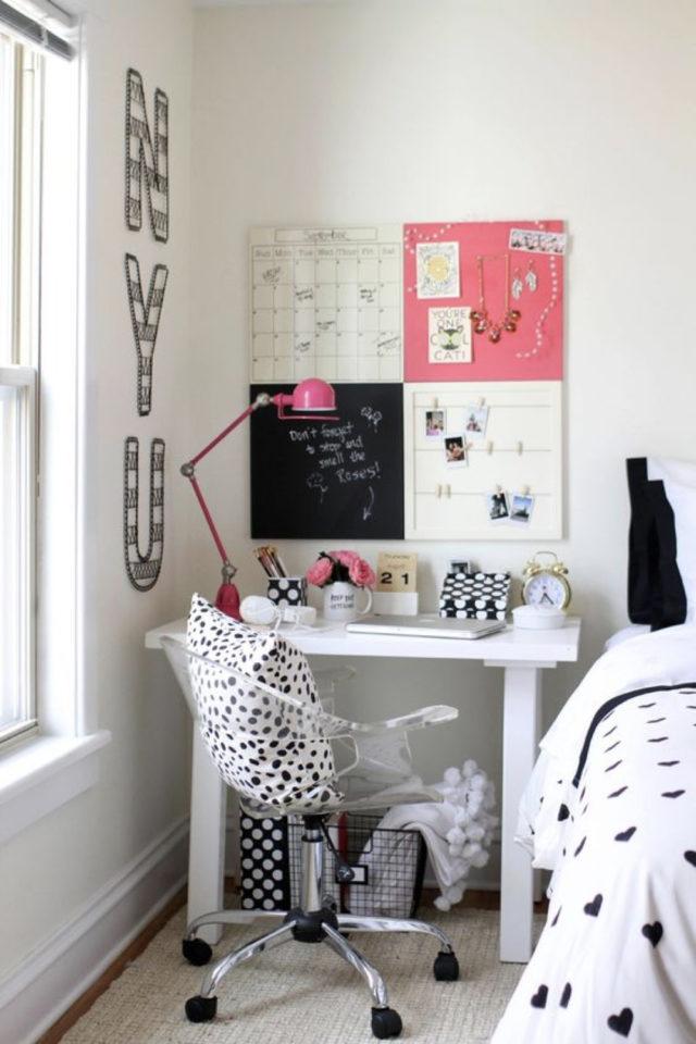 studio etudiant conseil bien etre petit bureau blanc fauteuil de bureau deco et moodboard mural