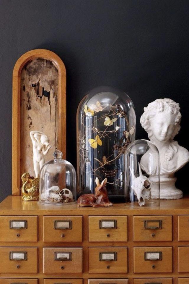 style deco rock materiaux exemple meuble apothicaire vintage récup ambiance cabinet curiosité