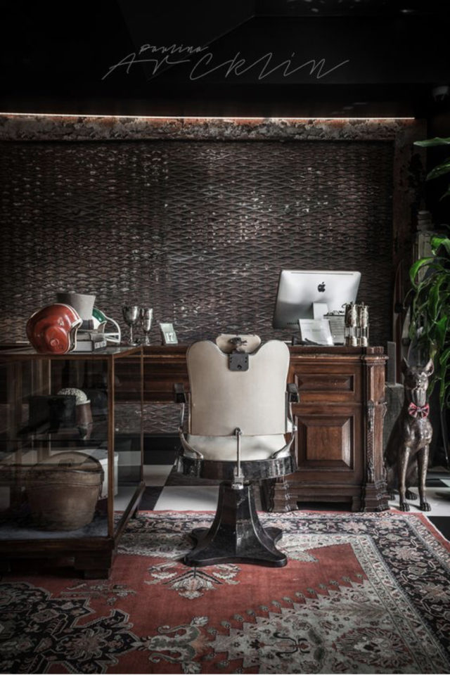 style deco rock materiaux exemple indus élégant meuble récup bureau fauteuil de barbier élégant