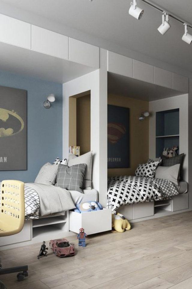 1 chambre 2 enfant exemple cloison entre les lits