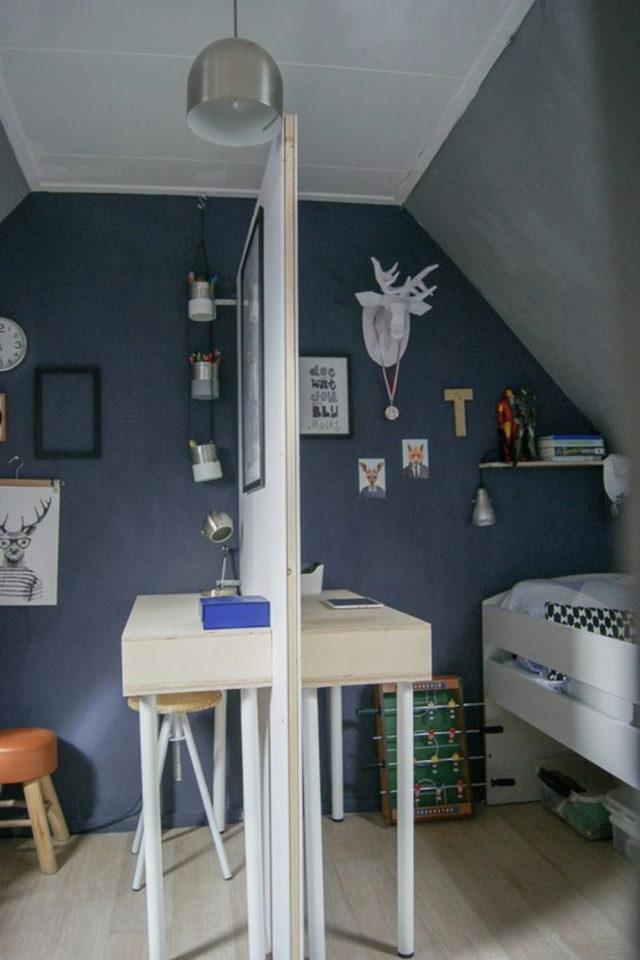 1 chambre 2 enfant exemple cloison symétrie bureau