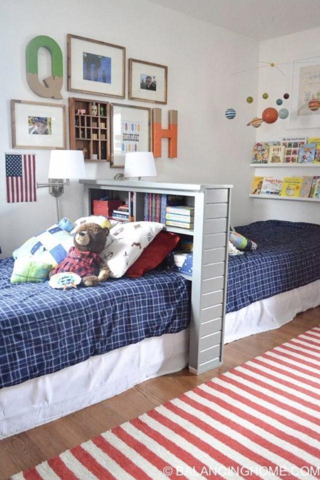 1 chambre 2 enfant exemple tête de lit bibliothèque délimitation espace séparation