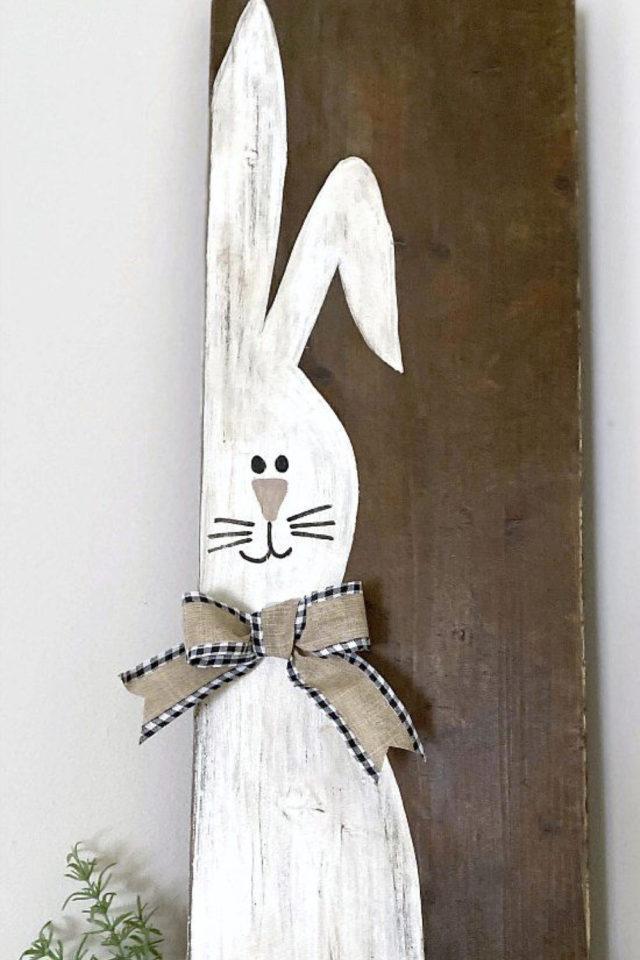 DIY deco paques exemple planche lapin dessin peinture