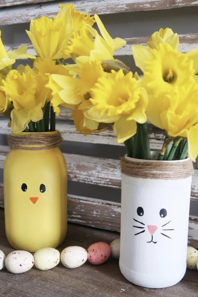 DIY deco paques exemple recup bocal peinture lapin poussin jonquille