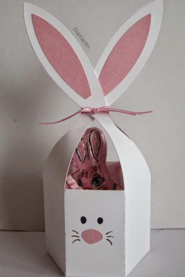 DIY deco paques exemple lapin papier rangement boite cadeau enfant