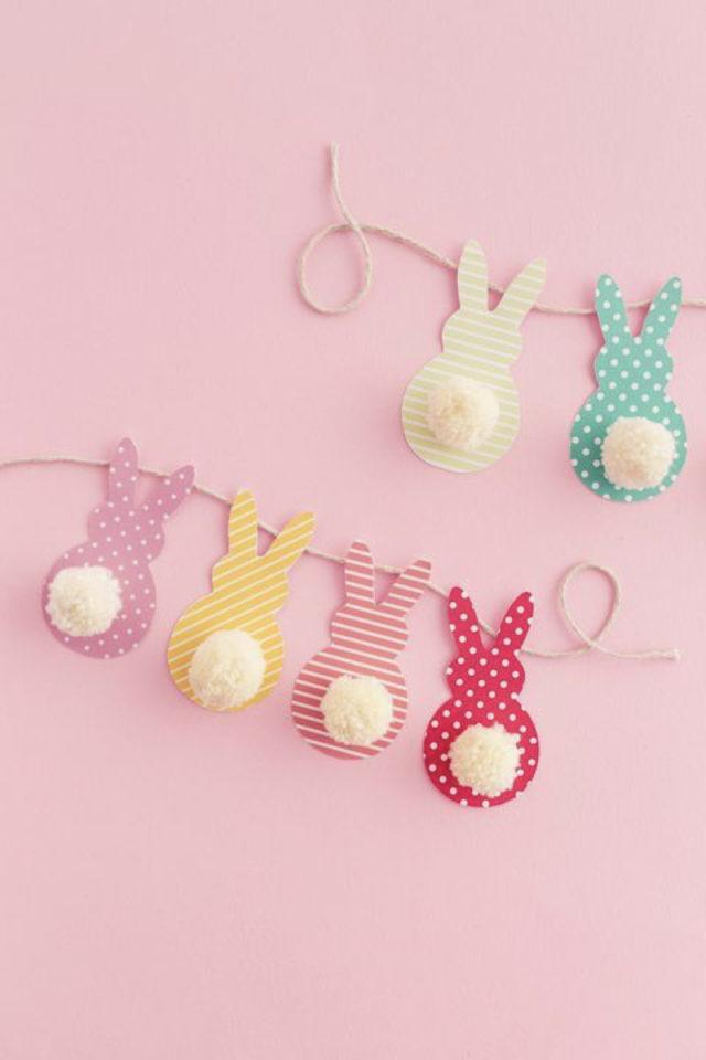 DIY deco paques exemple guirlande lapin coloré à faire soi même