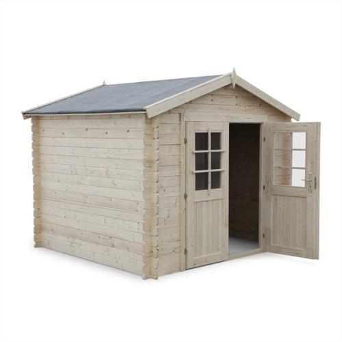 abri chalet jardin promo bois toit en pente fenêtre porte