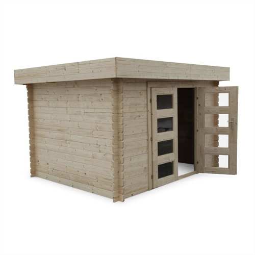 abri chalet jardin promo moderne en bois toit plat porte vitrée