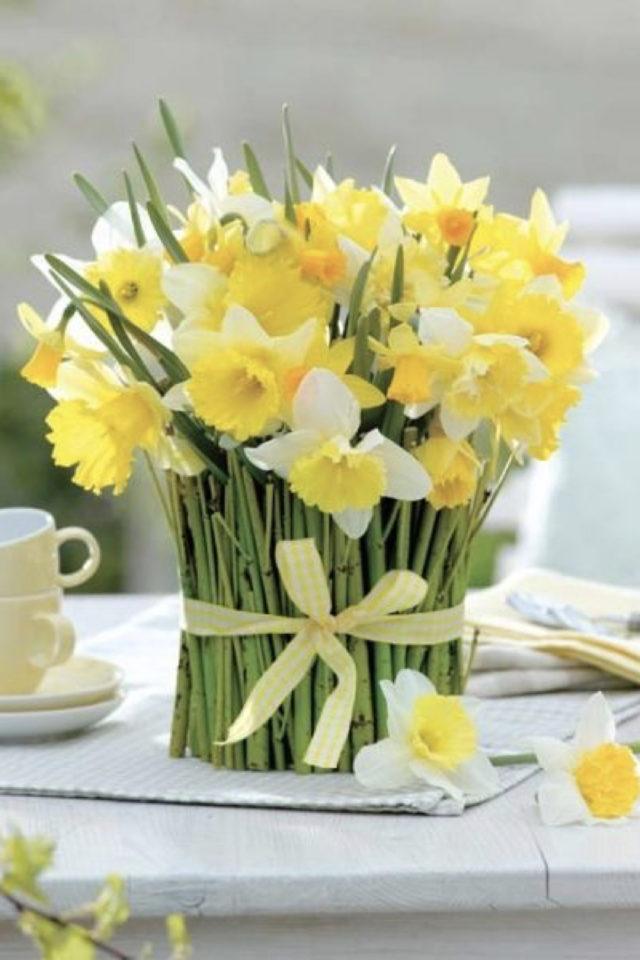 bouquet jonquille printemps decoration centre de table art de la table