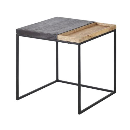 bout de canape pratique exemple bois et métal carré déco pas cher