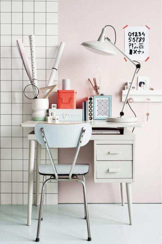 bureau chaise style vintage exemple chaise formica couleur pastel tout petit espace de télétravail