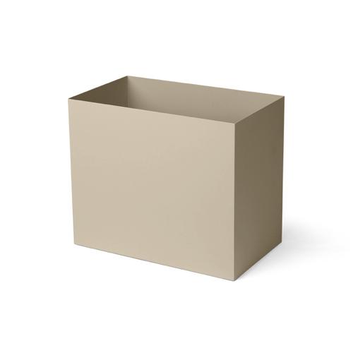 cache pot deco idee shopping rectangulaire beige écru métal design épuré
