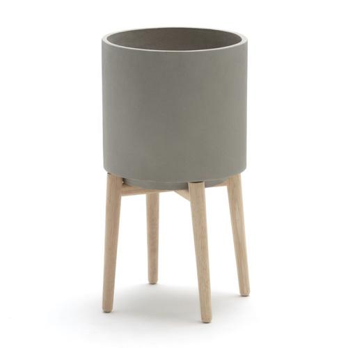 cache pot deco idee shopping gris avec piètement bois style scandinave