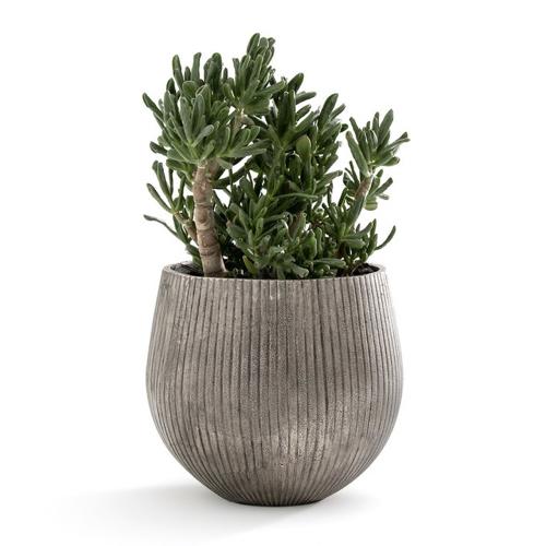 cache pot plante a poser decoration grand format argent sculpté