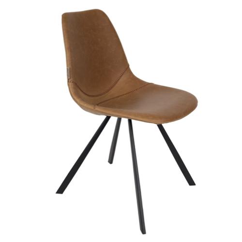 chaise vintage decoration bureau pied compas revetement cuir pas cher