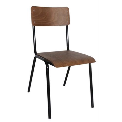 chaise vintage decoration bureau style école industriel bois et métal télétravail salon séjour