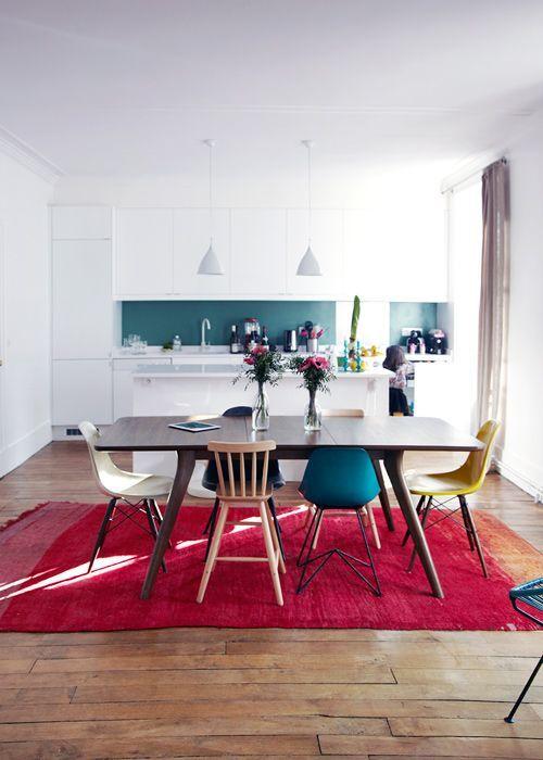 chaises depareillees pas cher cuisine ouverte table rectangulaires couleurs bois formes