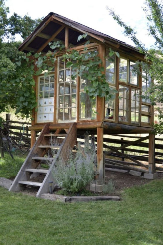chalet jardin deco exemple élévation fenêtre recupération