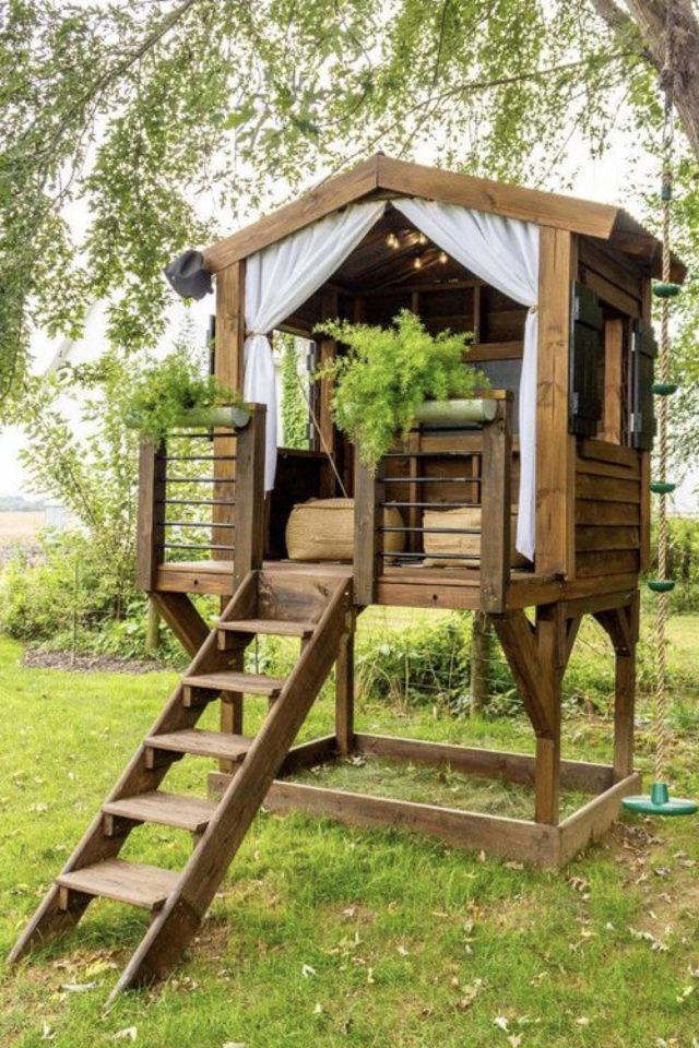 chalet jardin deco exemple cabane adulte détente bien être élévation