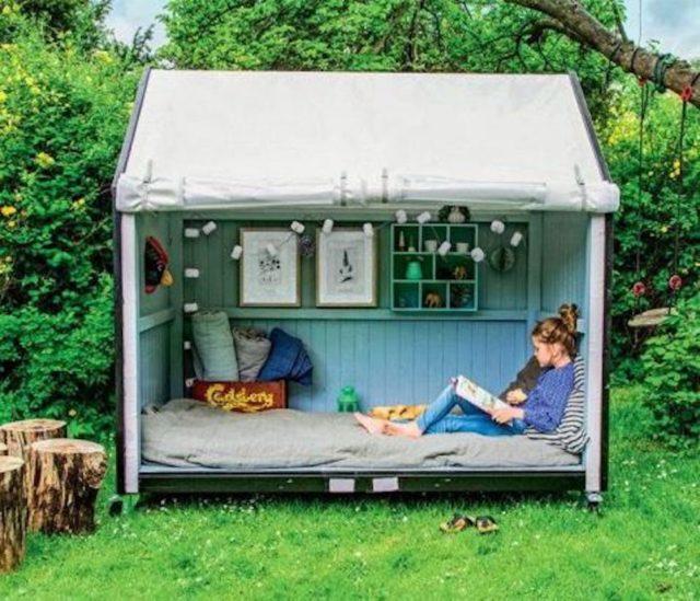 chalet jardin deco exemple lecture protection soleil confort détente