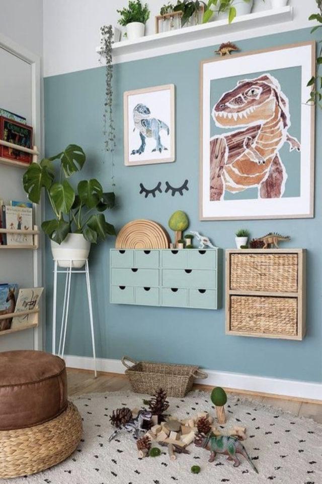 chambre enfant couleur classique exemple décoration murale moderne bleue