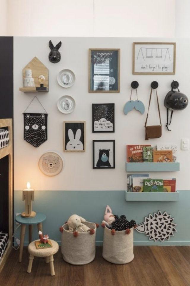 chambre enfant couleur classique exemple soubassement peinture bleu blanc