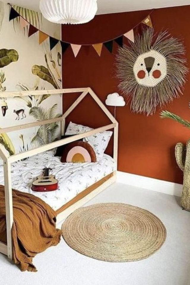 chambre enfant couleur moderne exemple terracotta blanc lit cabane nature