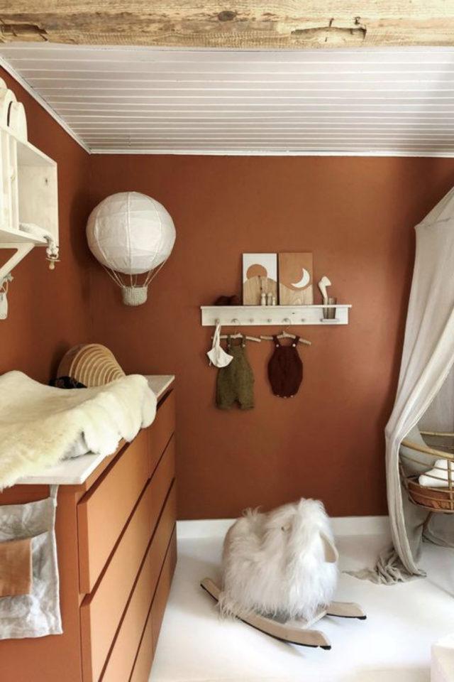 chambre enfant couleur moderne exemple terracotta idée déco actuelle