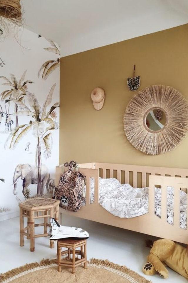 chambre enfant couleur moderne exemple ocre jaune moutarde lit en bois design