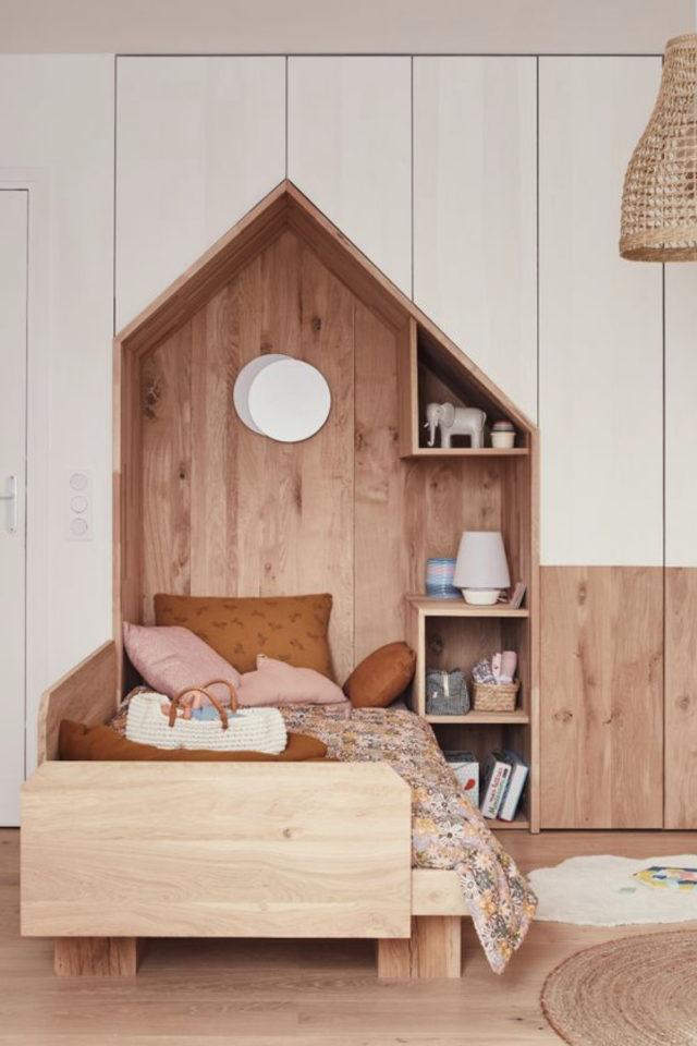 chambre enfant couleur neutre exemple niche meuble bois sur mesure blanc moderne