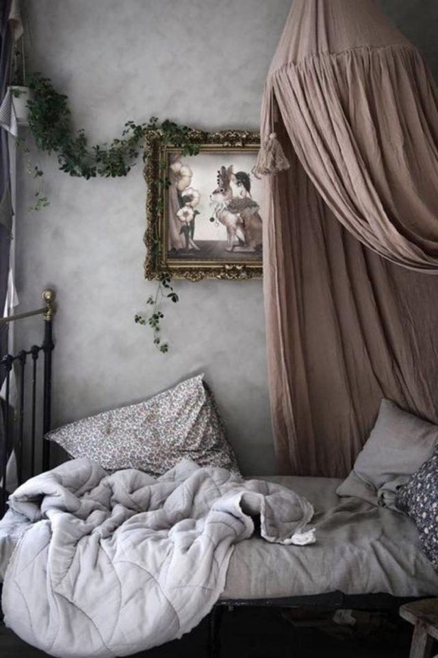 chambre enfant couleur neutre exemple enduit béton ciré ciel de lit rose poudré lit métal