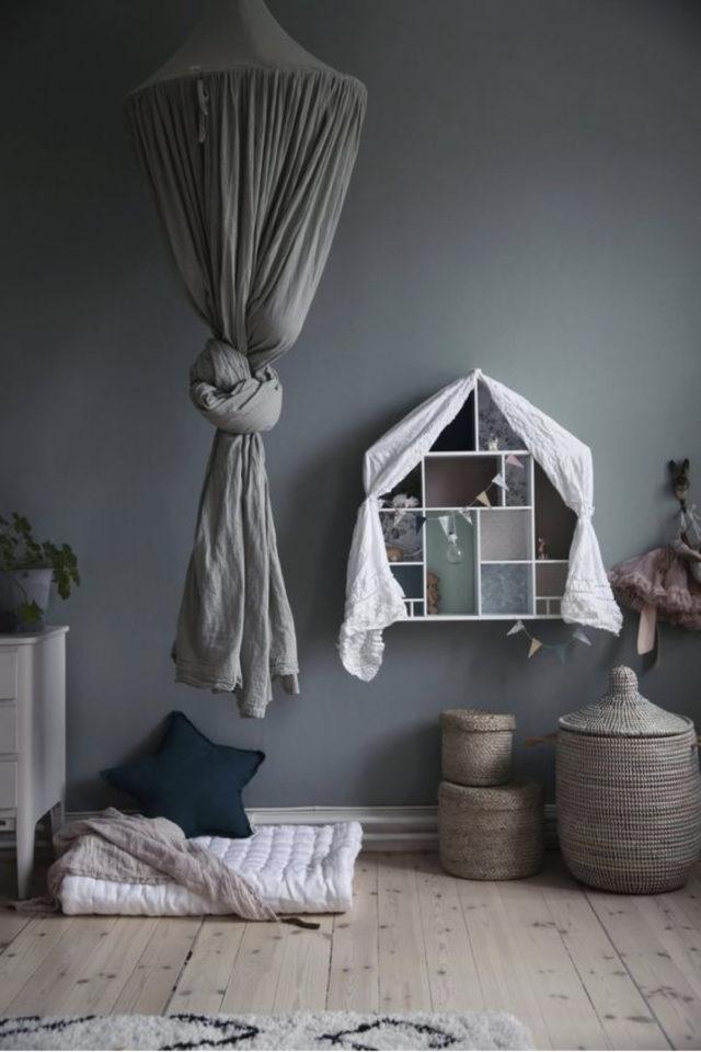 chambre enfant couleur neutre exemple peinture gris foncé anthracite moderne tendance