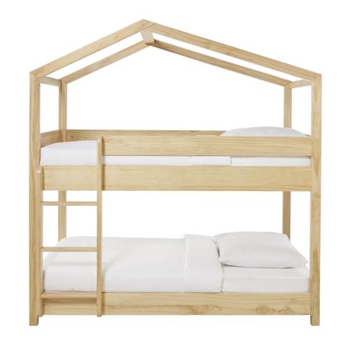 chambre enfant double lits superposés en bois forme cabane pas cher