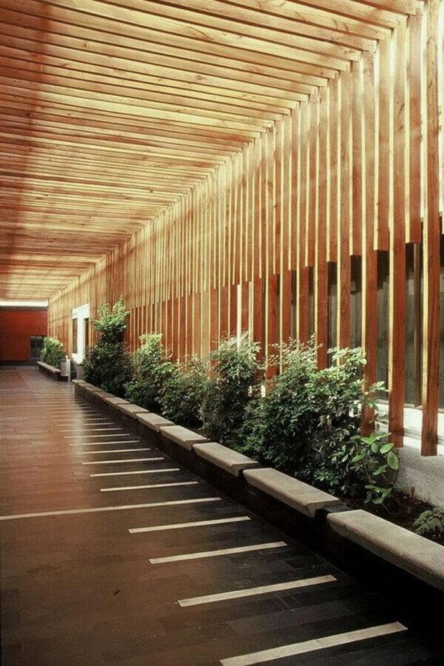 coursive immeuble plantes exemple claustra bois jardinières banc