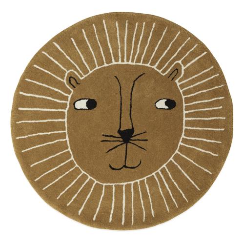 deco couleur enfant tapis rond tête de lion ocre moutarde moderne tendance