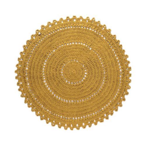 deco couleur enfant tapis rond macramé gypsy jaune