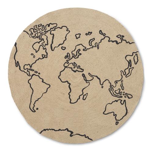 deco couleur enfant tapis rond naturel dessin planisphère theme voyage