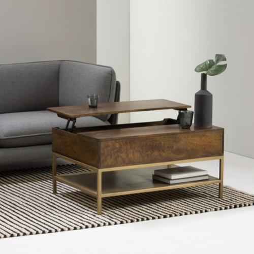 deco et meuble style masculin salon table basse pratique repas pied métal laiton bois intense